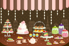 Cakes store display. A vector illustration of cakes store display vector illustration