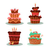 Cakes with strawberry and cherry, candle and stars. Dessert food or sweet cake with candle and cherry, strawberry on top, stars and icing. Cream bakery logo and Stock Photos