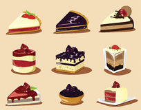 Cakes and strawberry, other berry Royalty Free Stock Photography