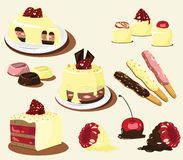 Cakes and strawberry, other berry Royalty Free Stock Image