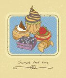 Cakes. Sweet cakes. Color vector illustration. Postcard or menu template Stock Images