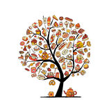 Cakes and sweets, art tree for your design Royalty Free Stock Image
