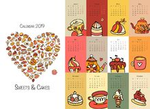 Cakes and sweets, calendar 2019 design Royalty Free Stock Photography
