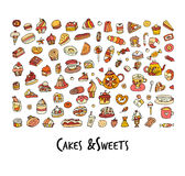Cakes and sweets collection, sketch for your design Stock Photos