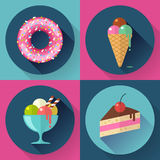 Cakes and sweets decorative icons set with donut Stock Photos