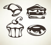 Cakes and sweets. Food collection, cakes and bakery images, symbols and emblems stock illustration
