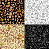 Cakes and sweets, seamless pattern for your design Stock Photos