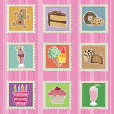 Cakes and sweets stamps. Cakes sweets biscuit ice cream and chocolate stamps Stock Image