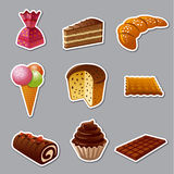 Cakes and sweets stickers Stock Images