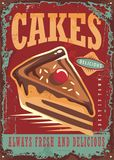 Cakes and sweets vintage sign. Idea on rusty metal plate background. Vector design Stock Photography