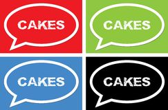 CAKES text, on ellipse speech bubble sign. Royalty Free Stock Image
