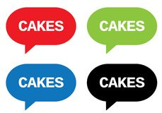 CAKES text, on rectangle speech bubble sign. Stock Photos
