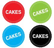 CAKES text, on round wavy border stamp badge. Royalty Free Stock Photo