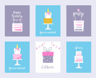 Cakes and Unicorns. Birthday Cards, Shower Invitations