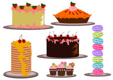 Cakes variant illustration vector. Set of cakes vector illustration isolated Royalty Free Stock Photography