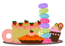 Cakes variant illustration vector Royalty Free Stock Photos