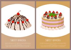 Cakes Variety Page Online Shop Vector Illustration. Cakes variety delicious desserts, web page for online shopping with text, sweet bakery with cream, banners Royalty Free Stock Photography
