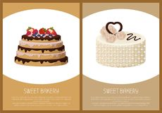 Cakes Variety Page Online Shop Vector Illustration. Cakes variety delicious desserts, web page for online shopping with text, sweet bakery with cream, banners Royalty Free Stock Image