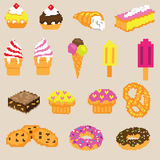 Cakes vector. With cake, ice cream and donuts etc Stock Photography
