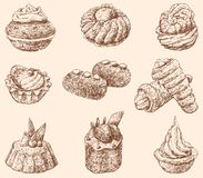 Cakes. Vector drawing of the different cakes royalty free illustration
