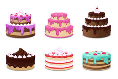 Cakes vector set. Icons on white background Stock Photo