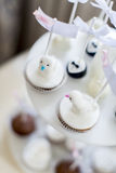 Cakes on the wedding. Close up view at cakes on the wedding stock photos
