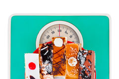 Cakes on weight scale Stock Photo