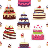 Cakes on a white background. Seamless pattern Royalty Free Stock Photo