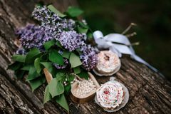 Cakes on a wooden table royalty free stock images