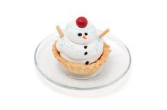 Cakesneeuwman op plaat Royalty-vrije Stock Afbeelding