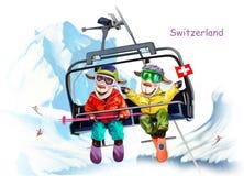 Cakle w ośrodku narciarskim Szwajcaria royalty ilustracja