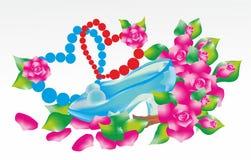 Calçados azuis com flores ilustração stock