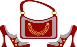 Calçados elegantes e bolsa das mulheres Fotos de Stock Royalty Free