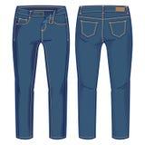 Calças azuis da sarja de Nimes Fotografia de Stock