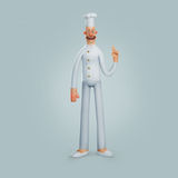 Calças brancas da camisa do cozinheiro do sorriso da ilustração Foto de Stock Royalty Free