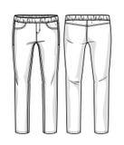 Calças brancas da sarja de Nimes Fotografia de Stock Royalty Free