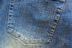 Calças da sarja de Nimes - detalhe Fotografia de Stock Royalty Free