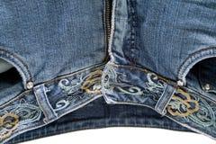 Calças das calças de brim com zipper Fotografia de Stock