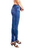 Calças de brim, calças de brim vestindo da cintura da mulher Fotos de Stock Royalty Free