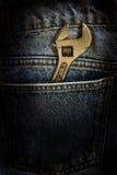 Calças de brim da chave e da tela Foto de Stock Royalty Free