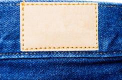 Calças de brim da etiqueta Foto de Stock Royalty Free
