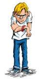 Calças de brim desgastando do adolescente sulky dos desenhos animados e camisa de t ilustração royalty free