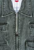 Calças de brim do casaco azul com zíper Imagens de Stock Royalty Free