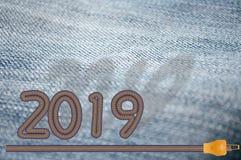 Calças de brim 2019 do conceito do ano novo fotos de stock
