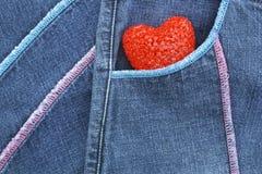 calças de brim e coração do ?Blue Imagem de Stock