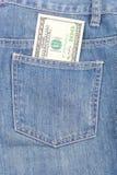 Calças de brim e dólares Imagens de Stock