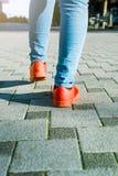 Calças de brim e sapatas da mulher Imagem de Stock Royalty Free