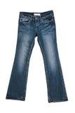 Calças de brim fêmeas azuis isoladas foto de stock royalty free
