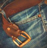 Calças de brim, idade e azul, parte Imagem de Stock Royalty Free