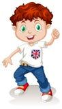 Calças de brim vestindo do menino britânico ilustração royalty free